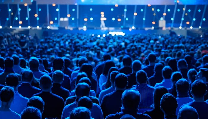 Audience listens to the lecturer at the conference