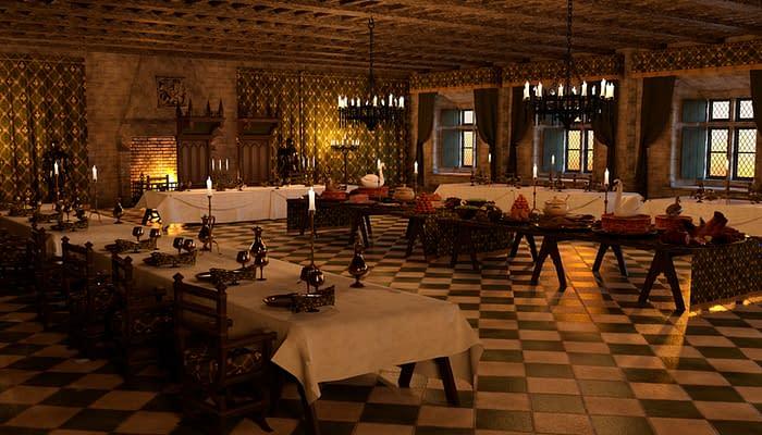 3D illustration medieval banquet hall interior